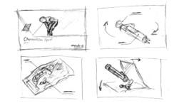 Storyboard / Zeichnung 3D-Animation ChondroFIller liquid Szenen 1 - 4