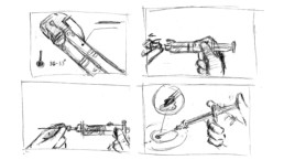 Storyboard / Zeichnung 3D-Animation ChondroFIller liquid Szenen 5 - 8