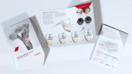 4-seitiger Informationsflyer ChondroFiller liquid, gestapelt, Cover, Innenseiten, Rückseite