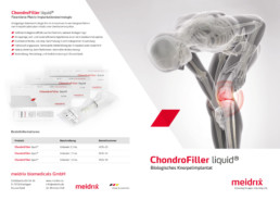 4-seitiger Informationsflyer ChondroFiller liquid, Cover und Rückseite Layout