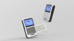 TENS EMS Kobigerät STIM-PRO X9+, perspektivische 3D-Darstellung von zwei Geräten mit offener und geschlossener Klappe