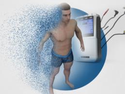 3D-Animation STIM PRO X9+ 3D-MEnsch mit Partikeln und STIM PRO X9+ Gerät