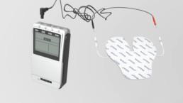 3D-Animation STIM PRO X9+ Konnektion mit der Elektrode in Schmetterlingsform zur Behandlung von Nackenschmerzen