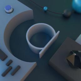 Dreidimensionale Darstellung des Buchstabens a in einer abstrakten Umgebung