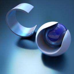Dreidimensionale Darstellung des Buchstabens c mit dem dreidimensionalen Logo von Cinema 4D