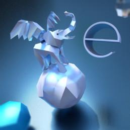 Dreidimensionale Darstellung des Buchstabens e mit einem lowpoly 3D-Elefant auf einer Kugel