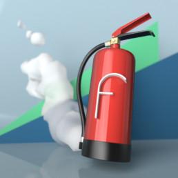 Dreidimensionale Darstellung des Buchstabens f mit dem dreidimensionalen Feuerlöscher