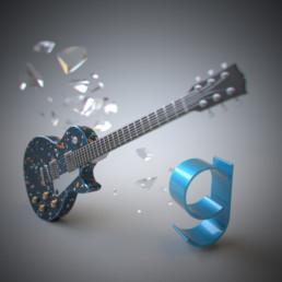 Dreidimensionale Darstellung des Buchstabens g mit einer dreidimensionalen E-Gitarre