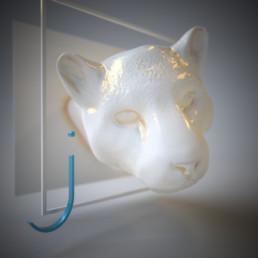 Dreidimensionale Darstellung des Buchstabens j mit einem dreidimensionalen Kopf eines Jaguars