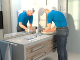 3D-Anwenderanimation UROMED Silikon-Kondom-Urinale Anwender am Waschbecken