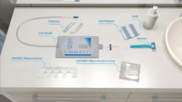 3D-Anwenderanimation UROMED Silikon-Kondom-Urinale Setdarstellung