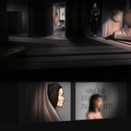Didgitale Illustration. Das Paket von Sebastian Fitzek. IN einem Hotelzimmer steigt Emma aus der Dusche und sieht auf dem Spiegel eine Botschaft.