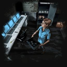Didgitale Illustration. Mr Mecedes von Stephen King. Brady hält eine Box mit alten Handy und schaut auf die Bildschirmevon Laptops.