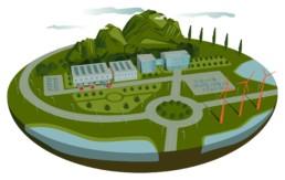 Vektorillustration eines AUsschnitts einer Landschaft mit einem Firmengelände