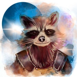 Freie digitale Ilustration des Charackters Rocket aaus dem Film Guardians of the Galaxy