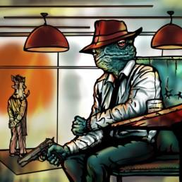 Freie digitale Ilustration des Charackters Frog Dillinger