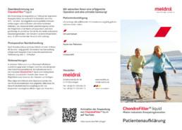 Patientenaufklärungs-Flyer für das Produkt ChondroFiller liquid Front- und Rückseite