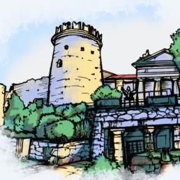 Digitale Illustration, Darstellung des Kastells von Trsat