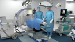 3D-Animation UROMED NEPHROquick Ballon-Katheter-Set: Abbildung eines Operationsraums mit zwei Ärzten und einem Patienten